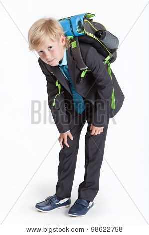 Tired And Humped Schoolboy With School Backpack Full-length, Isolated On White Background