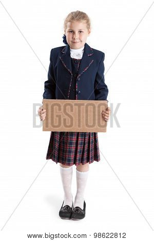 Caucasian Schoolgirl Full-length Holding Paperboard In Hands, Looking At Camera, Isolated On White B