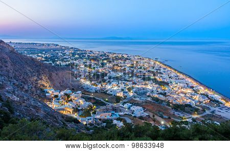 Evening Lights Of Kamari, Santorini