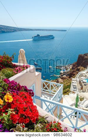 Flowers, Buildings And Cruise Ship In Oia, Santorini