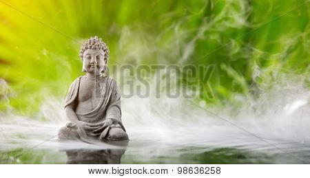 Buddha in meditation in water