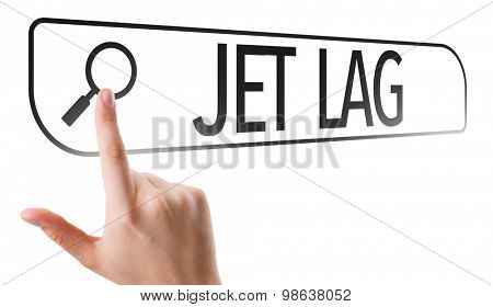 Jet Lag written in search bar on virtual screen