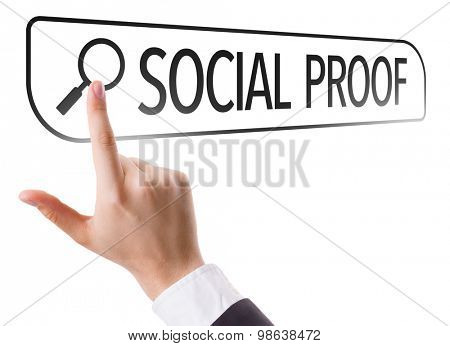 Social Proof written in search bar on virtual screen