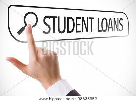 Student Loans written in search bar on virtual screen