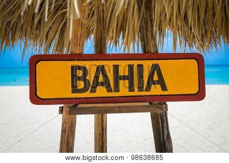 Bahia sign with beach background