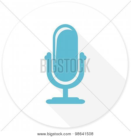 microphone flat design modern icon with long shadow for web and mobile app