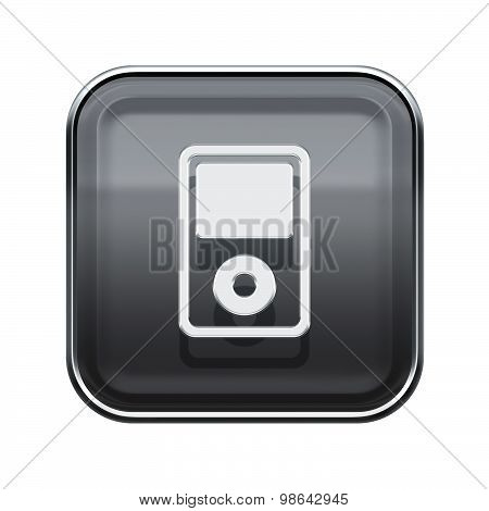 Audio Player Glossy Grey, Isolated On White Background