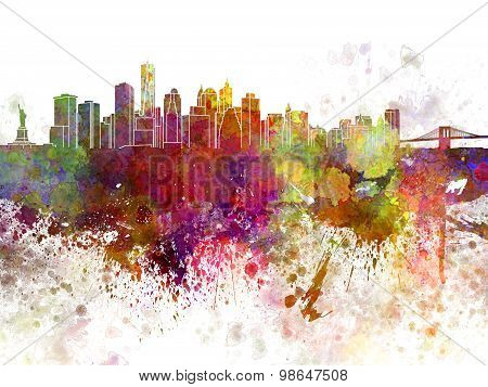 New York Skyline V2 In Watercolor Background