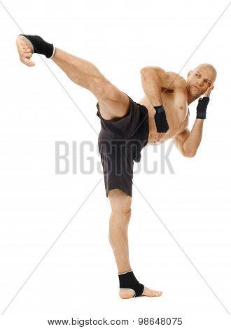 Kickboxer Executing A Powerful Kick