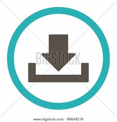 Download raster icon. This rounded flat symbol is drawn with grey and cyan colors on a white background. poster