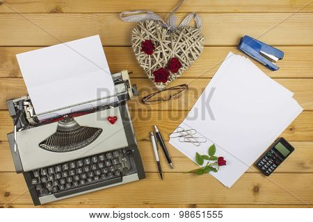 The writer writes a romance novel. A love letter for Valentine's Day.