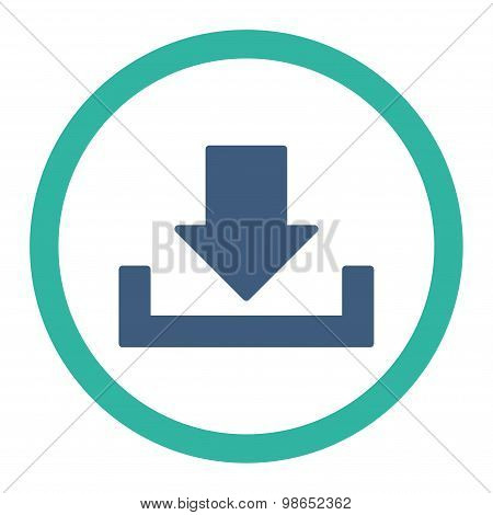 Download raster icon. This rounded flat symbol is drawn with cobalt and cyan colors on a white background. poster
