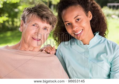 Friendship Between Retiree And Nurse