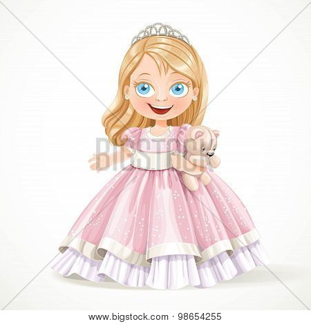 Cute Little Princess In Magnificent Pink Dress With Teddy Bear I
