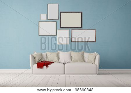 Many different picture frames on wall over a sofa in a living room (3D Rendering)