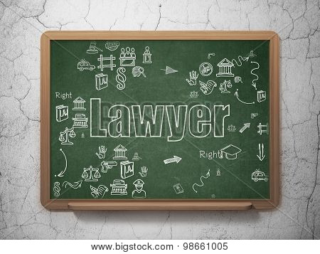 Law concept: Lawyer on School Board background
