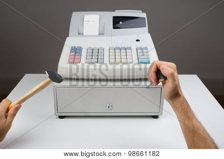 Person Hands With Worktool And Cash Register