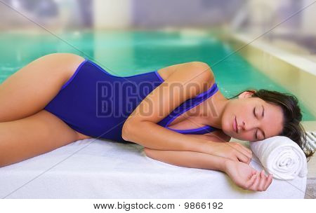Bathing Suit Spa Woman Relaxed Tuquoise Pool