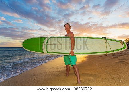 Upbeat Surfer At Sunset