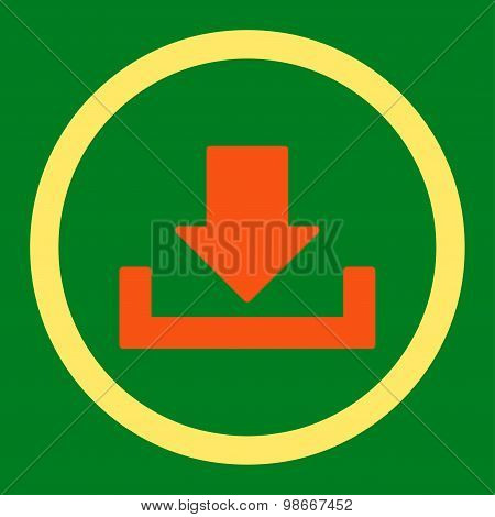 Download vector icon. This rounded flat symbol is drawn with orange and yellow colors on a green background. poster