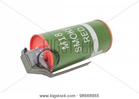 M18 Smoke Red Explosive Model, Weapon Army,standard Timed Fuze Hand Grenade On White Background