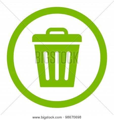Trash Can flat eco green color rounded vector icon