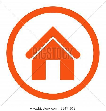 Home flat orange color rounded vector icon