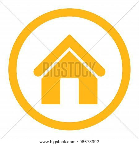 Home flat yellow color rounded vector icon