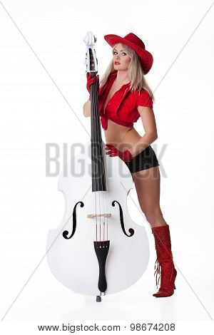 Young Woman With Bass