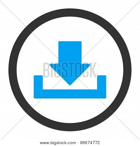 Download vector icon. This rounded flat symbol is drawn with blue and gray colors on a white background. poster