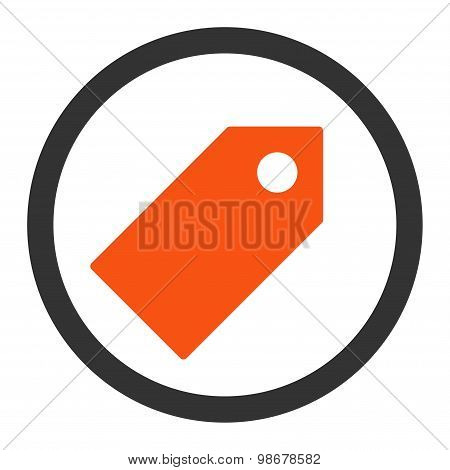 Tag flat orange and gray colors rounded vector icon