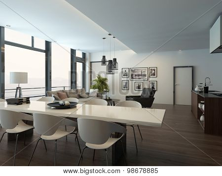 Luxury modern apartment living room interior with parquet floor, white dining table, lounge area and kitchen with a kitchen island. 3d Rendering. poster