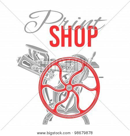 Letterpress print shop vector illustration. Vintage printing logo design. Rare industrial machine