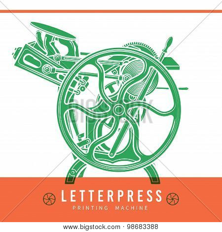 Letterpress overprint vector design. Vintage printshop logo. Old printing machine illustration.