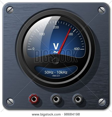 Vector Voltmeter On The Dark Metal Plate