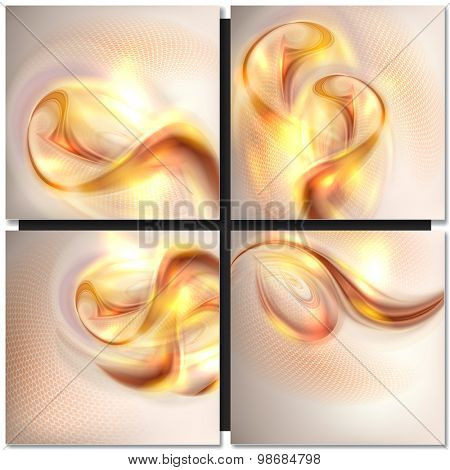 Abstract golden wave swirl background
