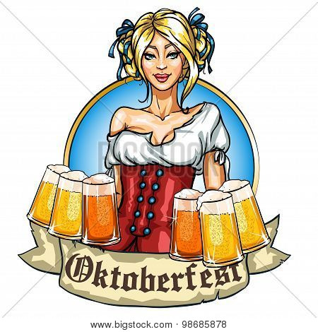 Pretty Bavarian girl with beer