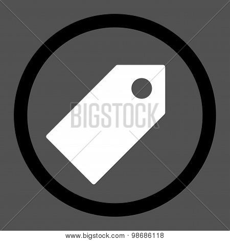 Tag flat black and white colors rounded raster icon
