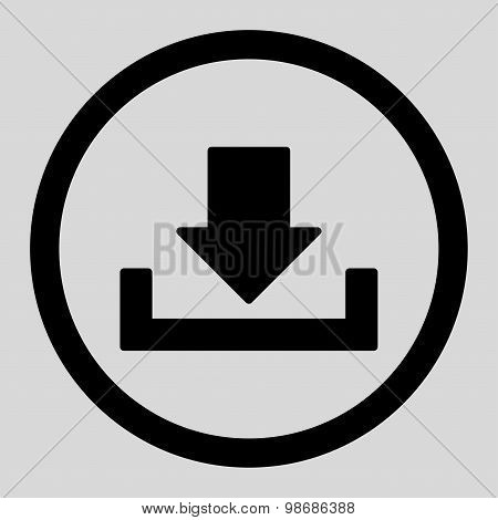 Download raster icon. This rounded flat symbol is drawn with black color on a light gray background. poster