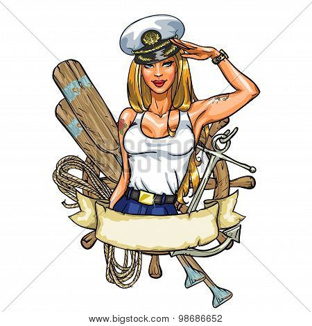 Sexy Pin Up Sailor Girl label