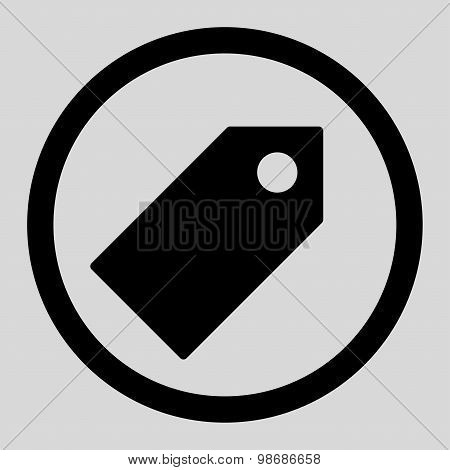 Tag flat black color rounded raster icon