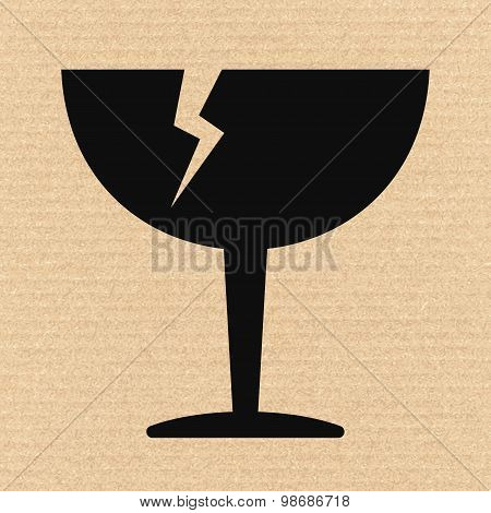 Breakable Or Fragile Material Packaging Symbol On Cardboard, Vector Illustration
