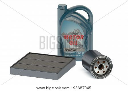 motor oil and oil filters isolated on white background poster