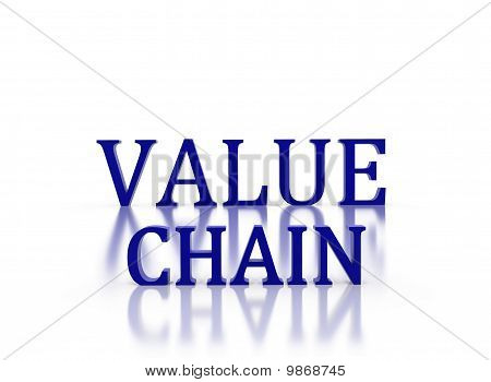 3D Letters Spelling Value Chain In Dark Blue