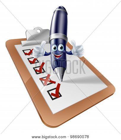 Pen Person And Clipboard Survey