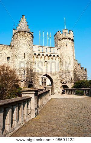 ANTWERP, BELGIUM - MARCH 10 2015: Het Steen medieval fortress in Antwerp the oldest building in the city.