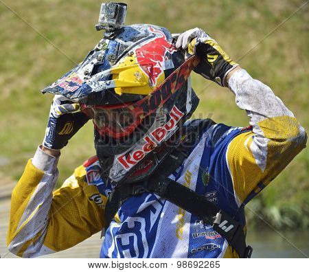 Sibiu, Romania - July 16: A Competitor In Red Bull Romaniacs Hard Enduro Rally. The Hardest Enduro R