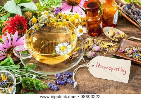 Cup of herbal tea with wild flowers and various herbs. Homeopathy