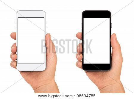 Woman's hand shows mobile smartphone.