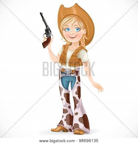 Cute Girl Dressed In A Cowboy Suit With A Gun Isolated On A Whit